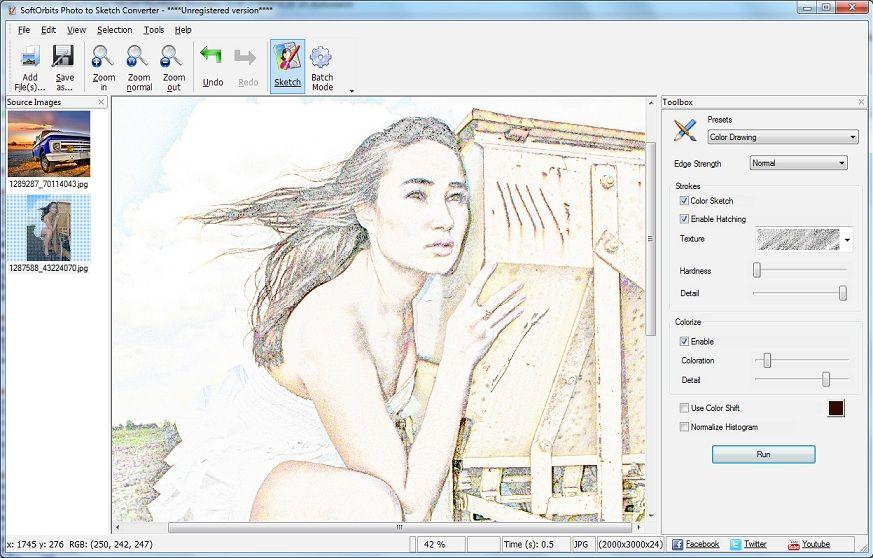 Sketch Drawer 4.0 pro phần mềm convert hình ảnh sang phác thảo bút chì