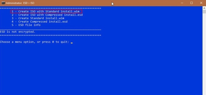 Chọn 1 - Create Full ISO with Standard install.wim