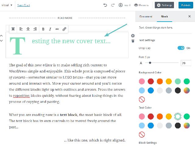 trình soạn thảo gutenberg từ phiên bản WordPress 5.0