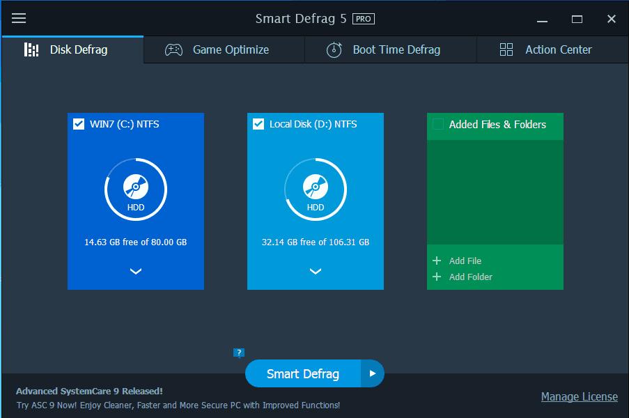Bản quyền phần mềm dọc rác, chống phân mảnh Smart Defrag Pro 5