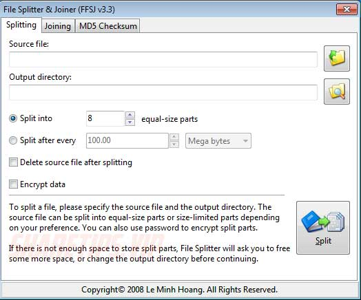 Phần mềm cắt và nối file .__a .__b .__c, .001 .002 .003