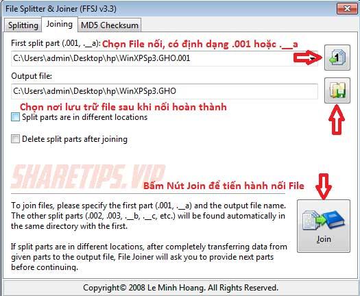 Hướng dẫn nối file .001 .002 .003 thành 1 file duy nhất